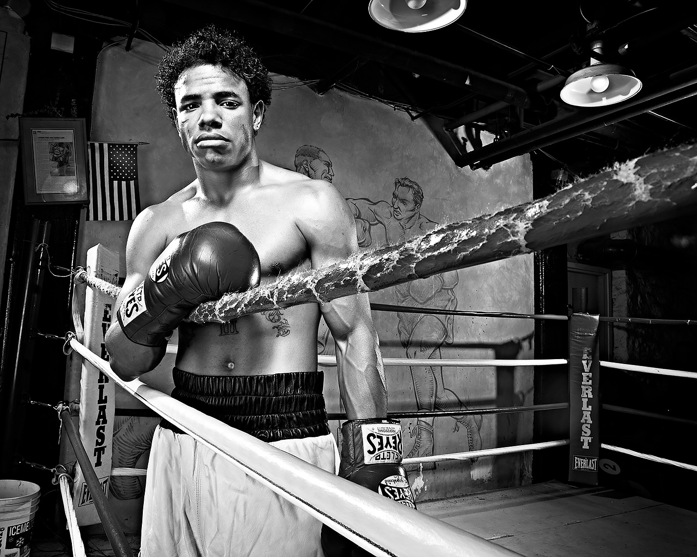 portrait of boxer Verquan Kimbro for pittsburgh city paper by brian kaldorf