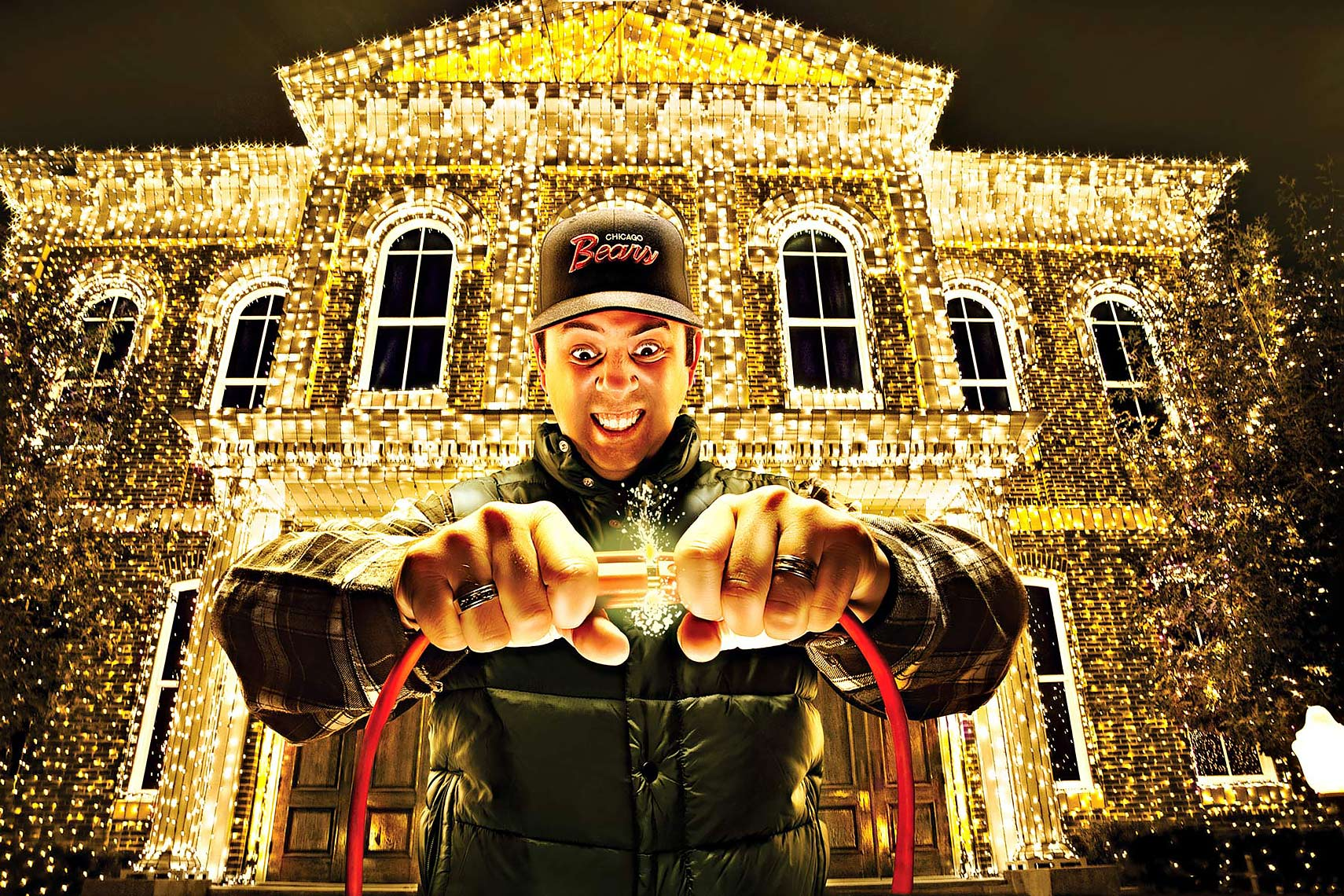 conceptual image of man with christmas lights by brian kaldorf