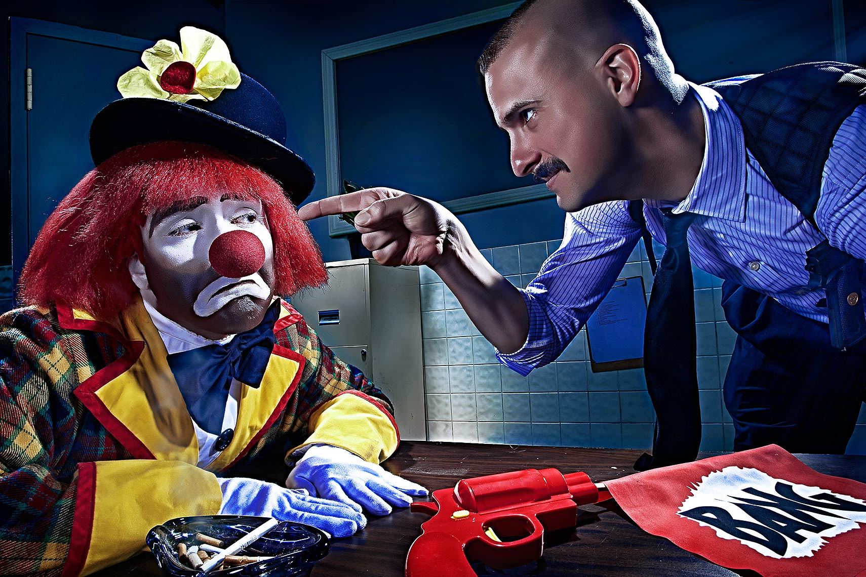 conceptual image of a clown interrogation by Brian kaldorf