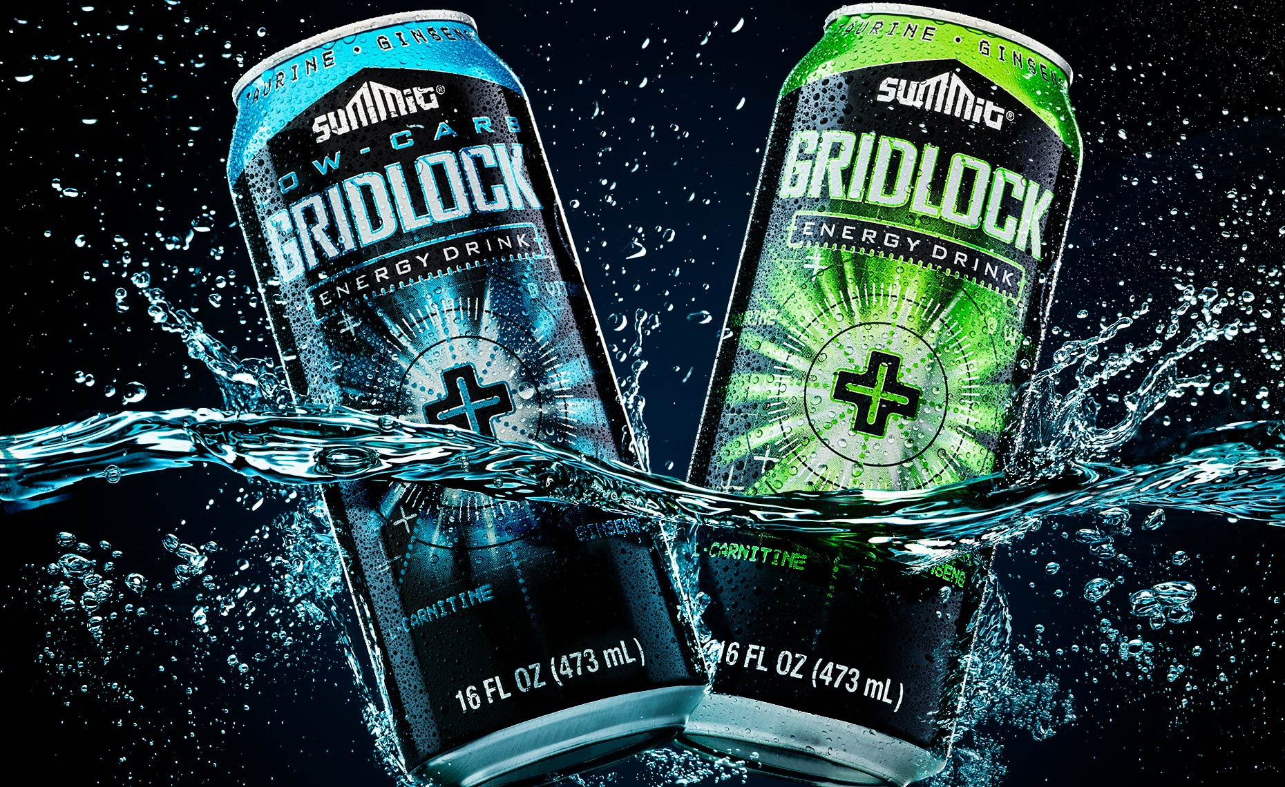 splash photography of gridlock-energy-drink by Brian Kaldorf