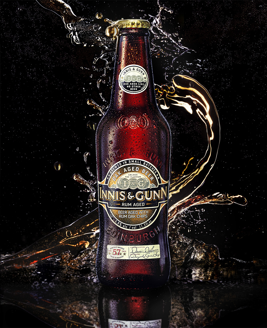 splash photography of innis and gunn rum aged beer by Brian Kaldorf