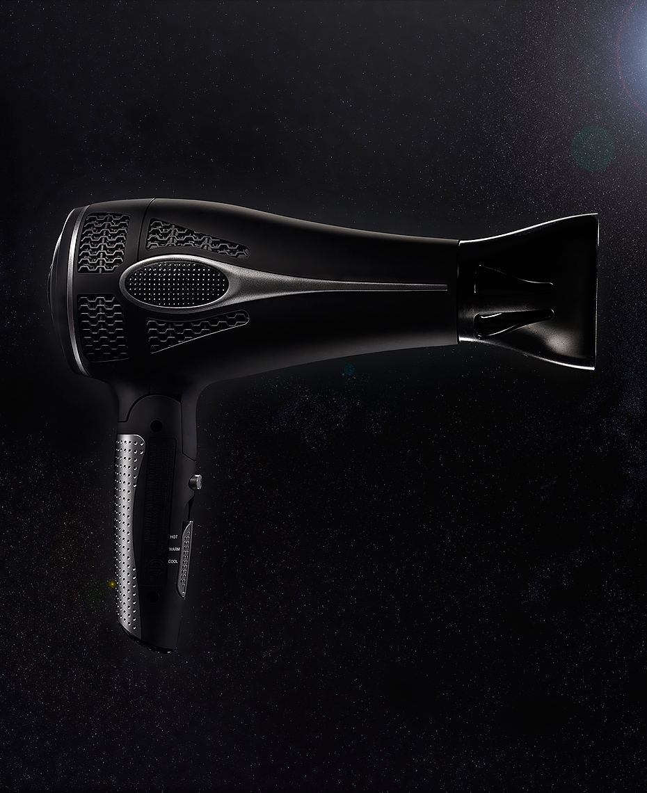 conceptual product photo of a hairdryer in space by Brian Kaldorf
