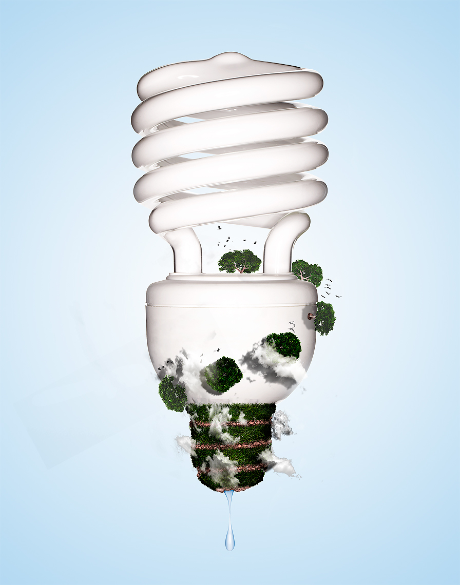 conceptual product photo of fluorescent light bulb by brian kaldorf