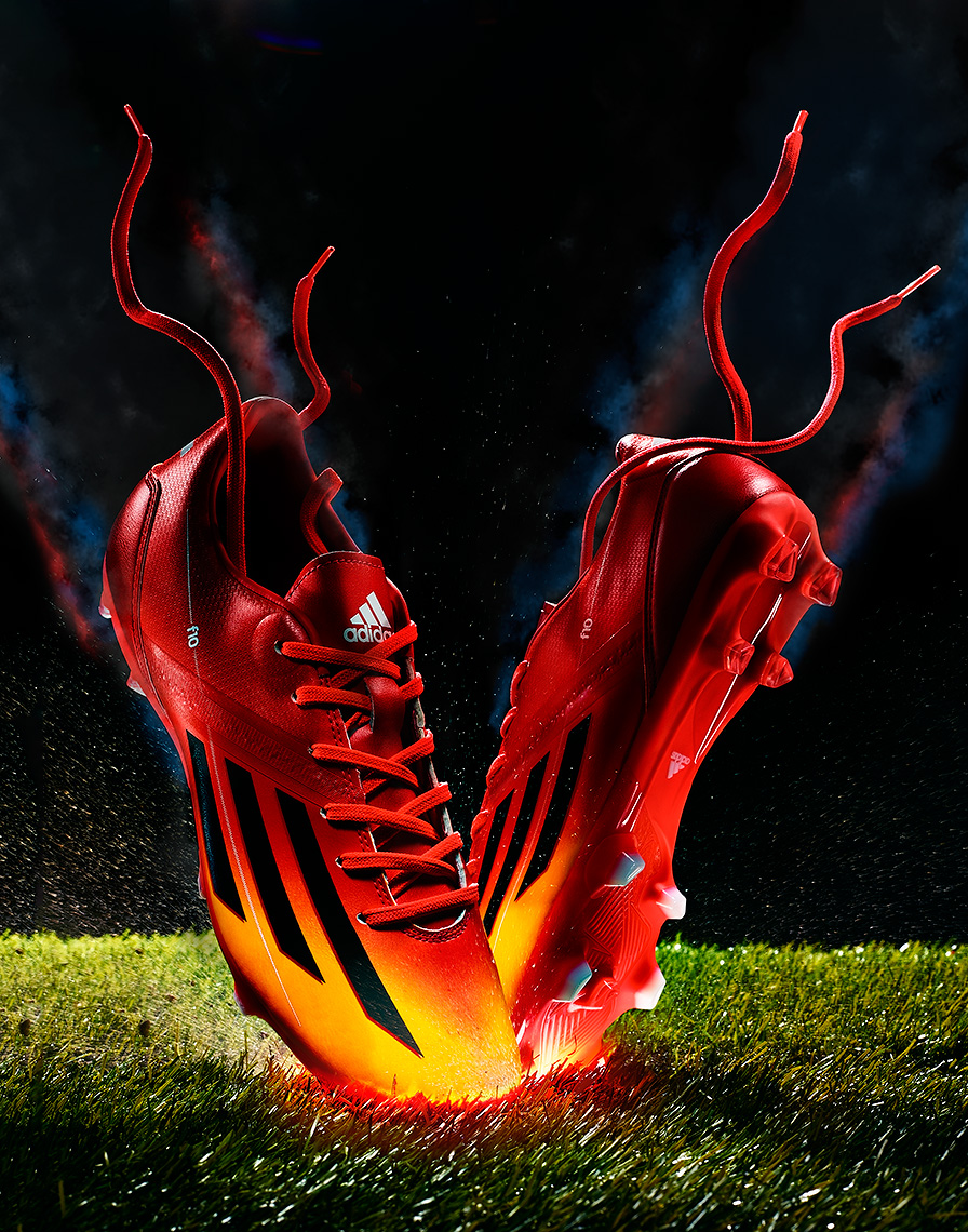conceptual product photo of adidas soccer cleats by brian kaldorf