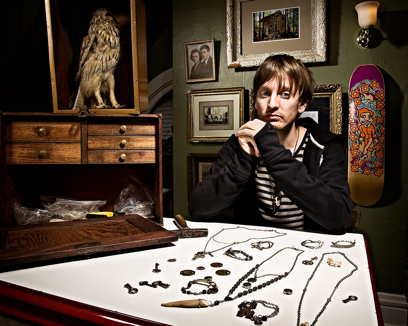 portrait of jewelry maker Michael Hickey for pittsburgh city paper by brian kaldorf