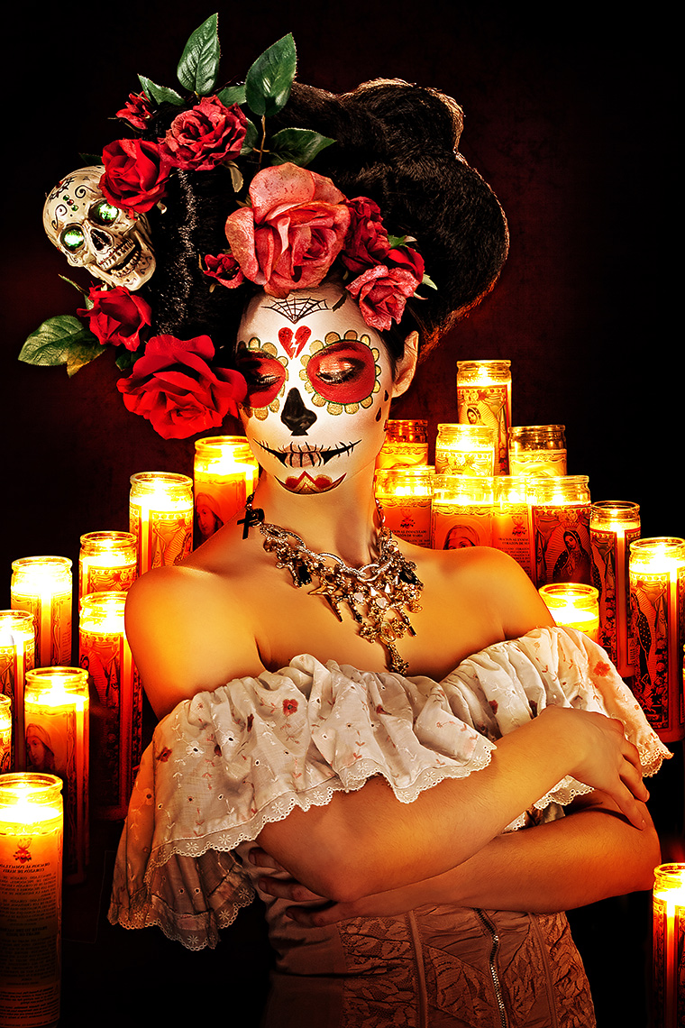 conceptual portrait of day of the dead sugar skull makeup by brian kaldorf